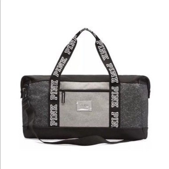2de1e64db6 VS PINK Duffle Gym Bag Black Grey Marl
